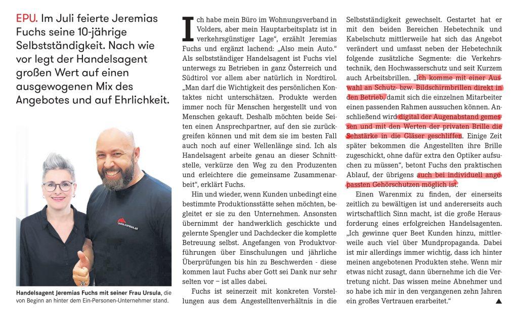 10 Jahre Jeremias Fuchs Voraus